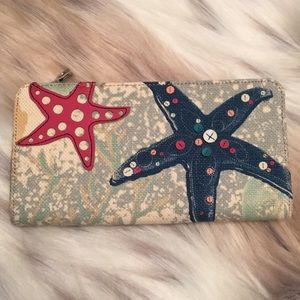"""Relic Beach nautical wallet 8"""" canvas leather NWOT"""